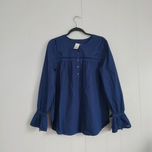 LOFT Long Sleeved Embroidered Blouse L NWT